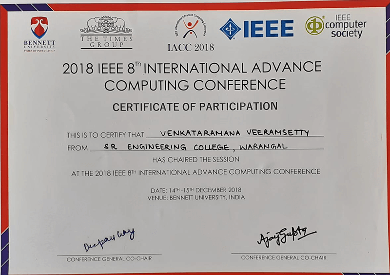 Awards & Recognitions, Center for Artificial Intelligence and Deep Learning, CAIDL, SR University. Dr. Venkataramana Veeramsetty, IEEE 8th International Advance Computing Conference