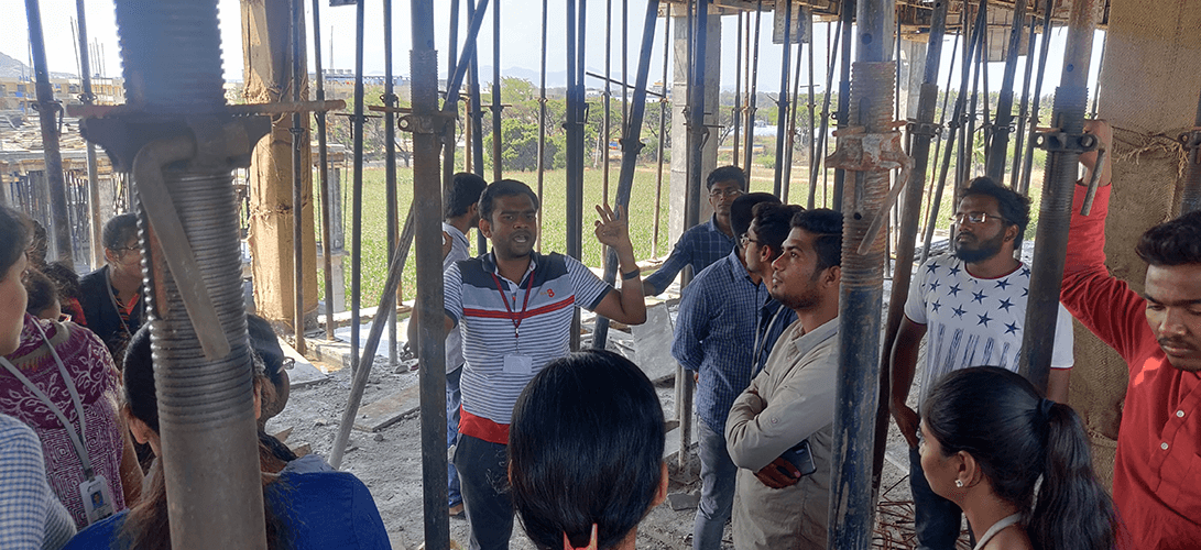 Industrial visit, site construction, Centre for Construction Methods and Materials, SR University,